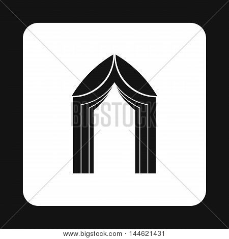 Arch tent icon in simple style isolated on white background. Construction symbol