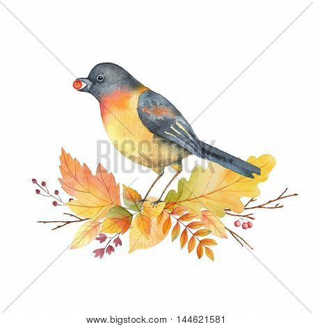 Watercolor bird and wreath with colored leaves on a white background. Illustration for design cards, wedding invitations and congratulations.