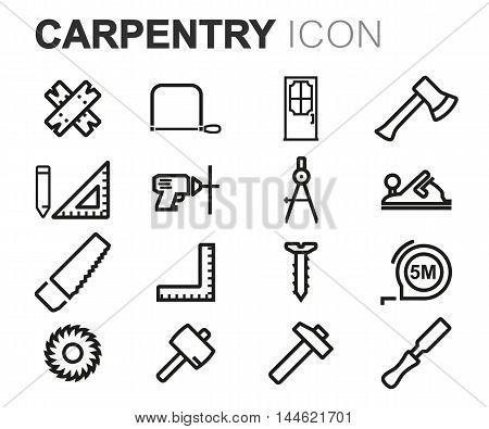 Vector black line carpentry icons set on white background