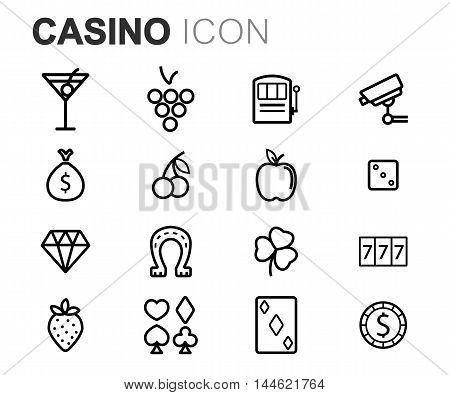 Vector black line casino icons set on white background