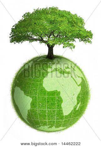 Planeta terra com uma árvore
