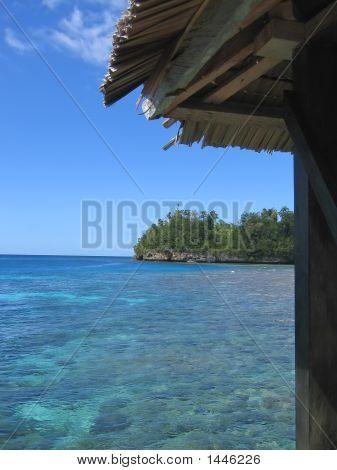 Small Hut On A Tropical Blue Sea, Togians Island, Sulawesi, Indonesia