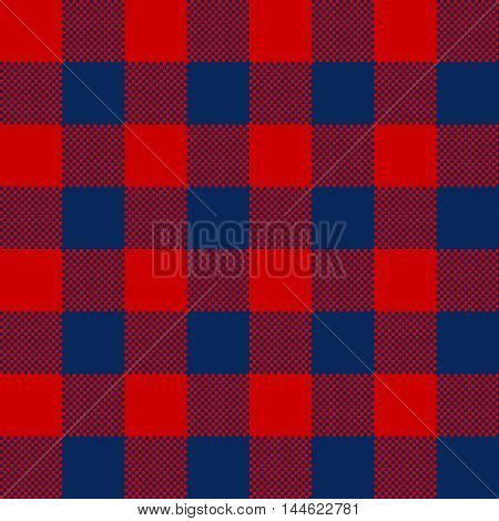 Blue red check pattern seamless fabric texture. Vector illustration.