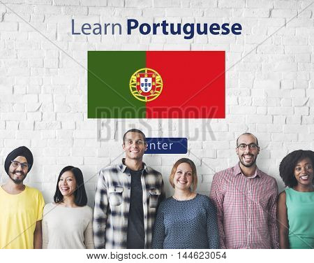 Learn Portuguese Language Online Education Concept