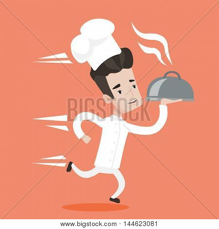 Chef in a cap and white uniform running. Young cheerful waiter holding a cloche. Smiling waiter fast running with a cloche. Vector flat design illustration. Square layout.