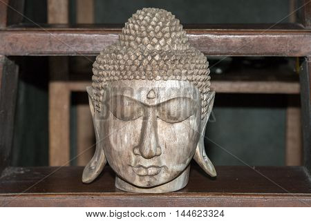 Buddha Head Closed Eyes Wooden Sculpture Statue