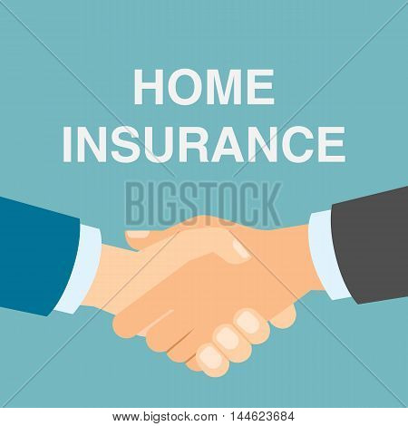 Home insurance handshake. Protection from destraction, fraud and risks. Making agreement and contract.
