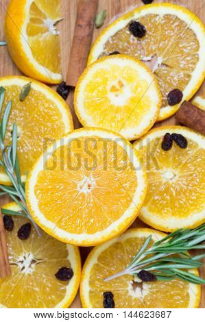 Orange Fruit On Brown Wooden Background