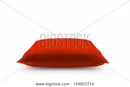 3d render of Royal red velvet pillow isolated on white background