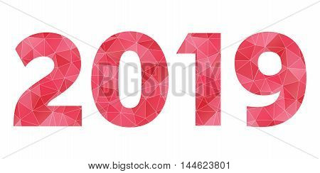 Happy New Year 2019 vector red polygon logo isolated