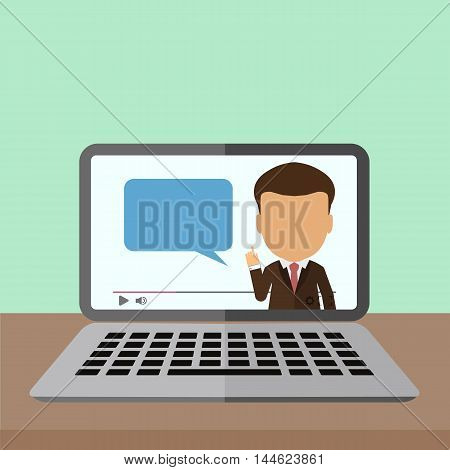 Business webinar consultant. Concept of distant online learning, conference and consultation. Office working.