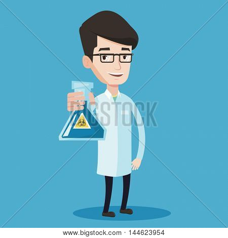 Young scientist holding a flask with bio hazard sign. Smiling laboratory assistant in medical gown showing a flask with some liquid in it. Vector flat design illustration. Square layout.