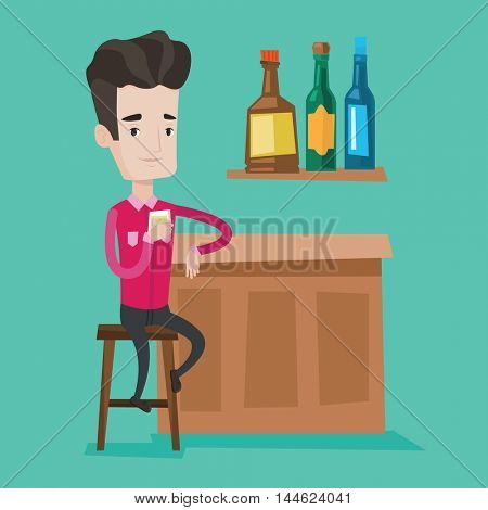 Young happy man sitting at the bar counter. Man sitting with glass in bar. Cheerful man sitting alone and celebrating with an alcohol drinks at the bar. Vector flat design illustration. Square layout.