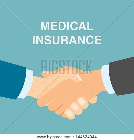 Medical insurance handshake. Agreement with doctor or agency about health insurance. Health safety.