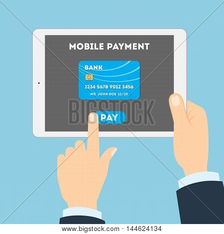 Mobile payment concept. Easy transaction with mobile banking. Credit card in tablet. Payment through internet.