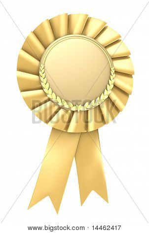 Gold ribbon award blank with copy space. Isolated