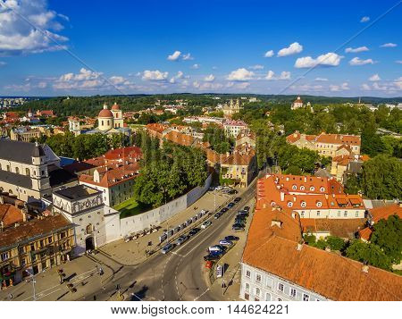 AERIAL TOP VIEW. Old Town in Vilnius, Lithuania: the Gate of Dawn, Lithuanian: Ausros Vartai, Polish: Ostra Brama. Beautiful representative photography