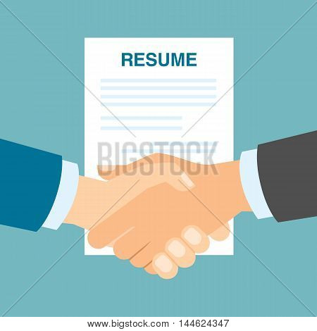 Resume approved handshake. Hiring new people, staff and employee. New partnership and teamwork.