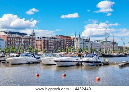 Boats moored along Pohjoisranta at the North Harbour. Helsinki Finland Scandinavia Europe