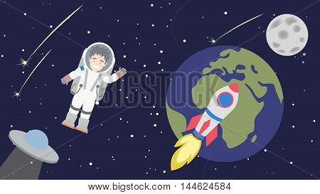Astronaut floating in cosmos. Space travel. Earth and Moon and rocket. UFO spacecraft. Happy smiling man in space suit.