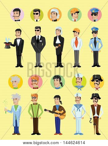 Cartoon сute vector characters of different professions