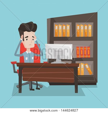 A tired man sitting at workplace in front of computer. Worried businessman working in the office. Overworked employee clutching his head in the office. Vector flat design illustration. Square layout.