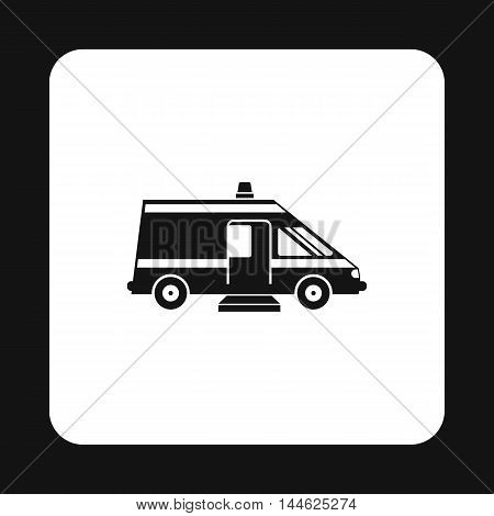 Ambulance icon in simple style isolated on white background. Treatment and medicine symbol