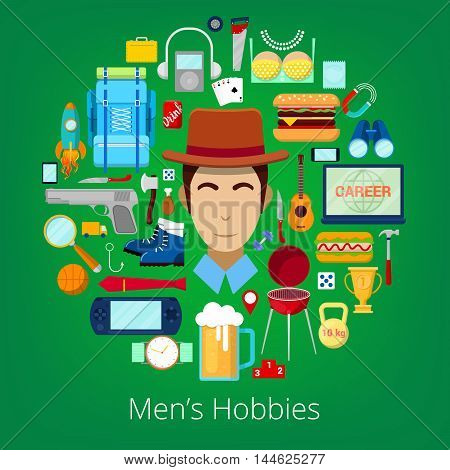 Man Hobby Icons Set with Elements of Mens Life. Vector illustration