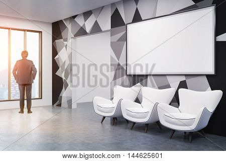 Man standing in office lobby with whiteboard and three white chairs. Broad doorway near panoramic window. Concept of business planning. 3d rendering. Mockup. Toned image