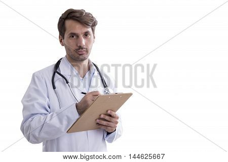 Isolated portrait of man doctor with stethoscope and clipboard in hands. Concept of good doctor. Mock up.
