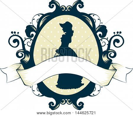 Cameo Illustration Featuring a Victorian Woman with a Ribbon Underneath