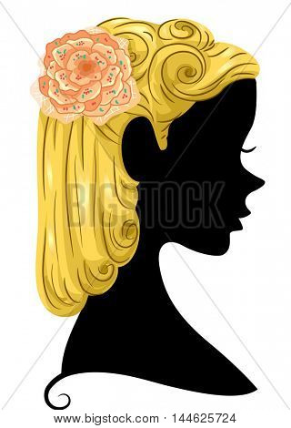 Illustration Featuring the Silhouette of a Woman With a Flower Tucked to Her Hair