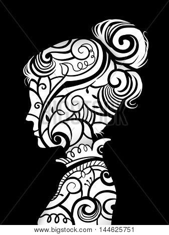 Illustration Featuring the Profile of a Woman Decorated with Vines