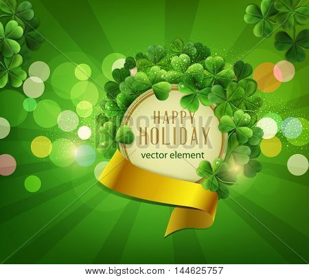 vector Vintage circle with space for text in a frame of shamrocks with gold ribbon, on a green background, the holiday st.Patrick