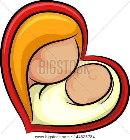 Icon Illustration Featuring a Woman Snuggling with Her Baby