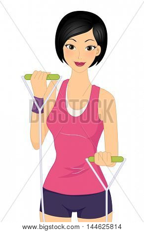 Illustration of a Woman Using a Resistance Band to Work Out