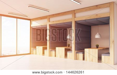Dining area in office interior with panoramic windows. Wooden tables and benches soft fabric walls and ceiling. Concept of working 24/7. 3d rendering. Toned image