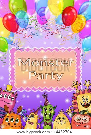 Background for Your Holiday Party Design with Different Cartoon Monsters, Colorful Illustration with Cute Funny Characters, Balloons and Bright Fireworks. Eps10, Contains Transparencies. Vector