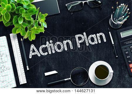 Black Chalkboard with Action Plan. 3d Rendering. Toned Image.