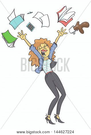 Overjoyed, happy business woman, clerk or secretary throwing office stuff and coffee in the air.