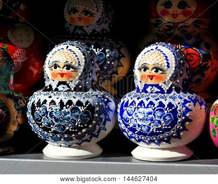 Colourful dolls called Matryoshka can be purchased in tourist centers in Russia