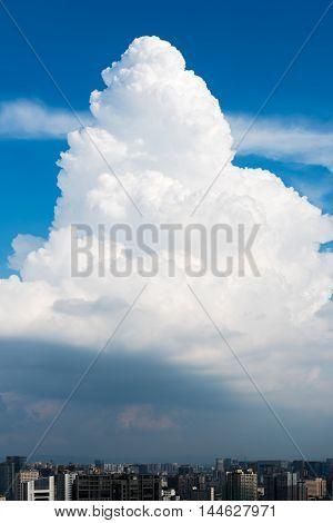 Vertical view of a cumulonimbus cloud above the city of Chengdu Sichuan Province