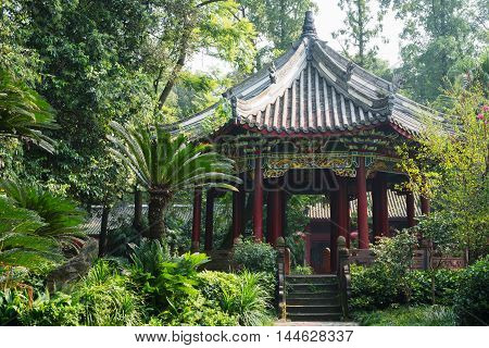 Pagoda surrounded by vegetation in Chengdu Sichuan Province China