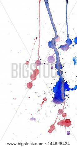 Blue and red watercolor splashes and blots on white background. Ink painting. Hand drawn illustration. Abstract watercolor artwork.