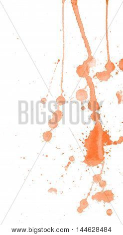 Bright orange watercolor splashes and blots on white background. Ink painting. Hand drawn illustration. Abstract artwork.