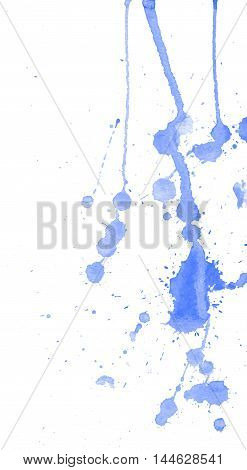 Blue watercolor splashes and blots on white background. Ink painting. Hand drawn illustration. Abstract watercolor artwork.