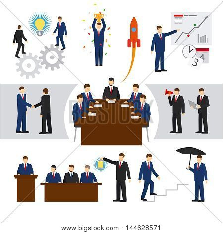 Vector business people and business teamwork. Professional office men set