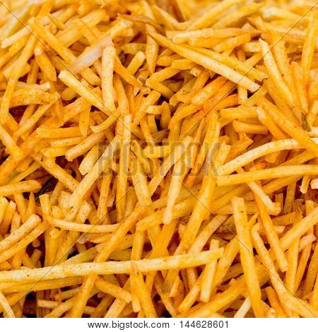 spicy french fries fast food snack like background
