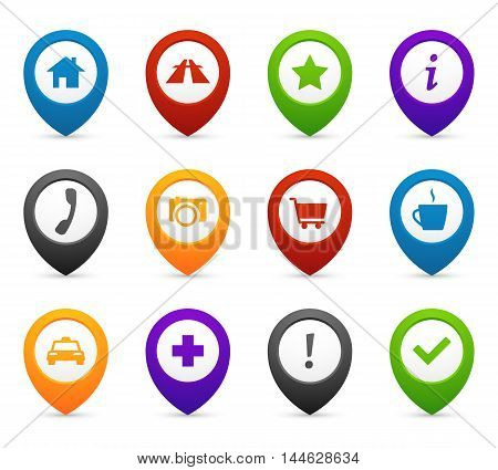 Mapping push pins with location icons for web and mobile application. Vector symbols set of navigation for travel illustration