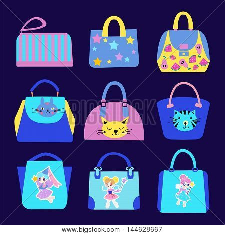 Vector set icons of girls and Women bags and handbags.Fashion Cute with cartoon pattern Bag Collection.